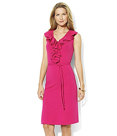 Lauren  Ralph Lauren Stretch Jersey Ruffle-Front Dress