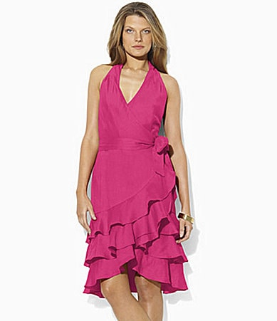 Lauren  Ralph Lauren Linen Ruffled Wrap Dress