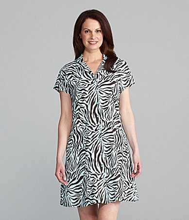 Cabernet Patio Woman Zebra Print Dress