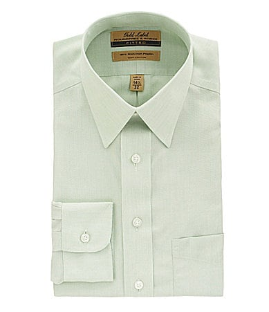 Roundtree & Yorke Gold Label Solid Point-Collar Dress Shirt