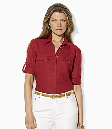 Lauren Ralph Lauren Linen Anchor-Detail Workshirt