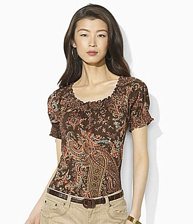 Lauren  Ralph Lauren Short-Sleeved Smocked Cotton Jersey Top