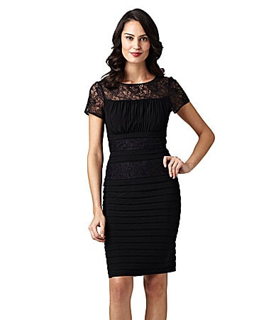 Adrianna Papell Shutter-Pleat Lace Dress