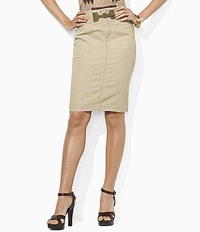 Lauren  Ralph Lauren Denim Faux-Suede Buckle Skirt
