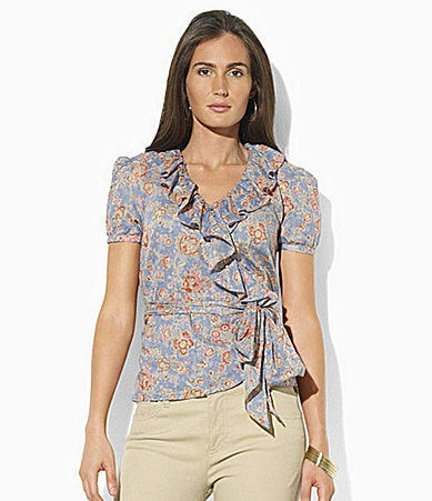 Lauren Jeans Co. Floral-Print Ruffle Wrap Top
