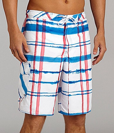 Roundtree & Yorke Watercolor Plaid Print Swim Trunks