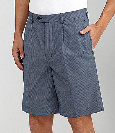 Daniel Cremieux Signature Pleated Mini-Check Shorts
