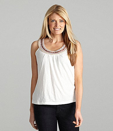 Multiples Solid Embroidered-Neck Tank