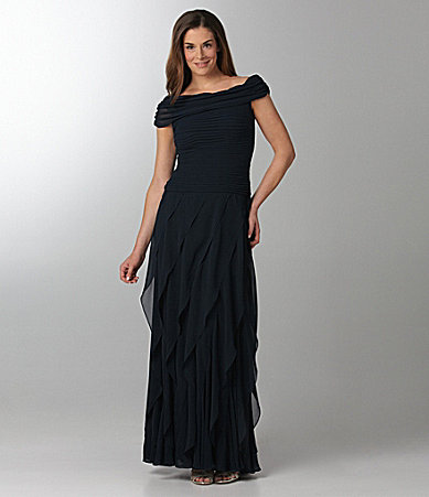 T by Tadashi Off-the-Shoulder Gown