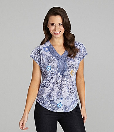 Westbound Petites Crochet-Trim Top