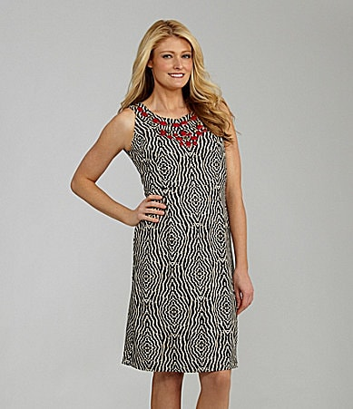 Sharon Young Bead-Neck Animal-Print Dress