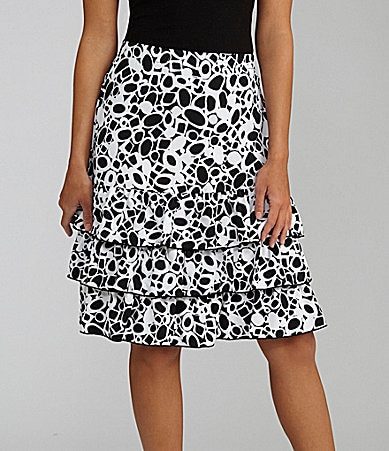 Peter Nygard Pebble-Print Tiered Skirt