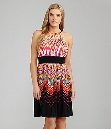 Maggy London Zigzag-Print Halter Dress