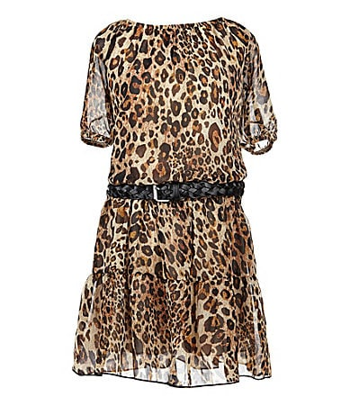 My Michelle 7-16 Animal Print Drop-Waist Dress