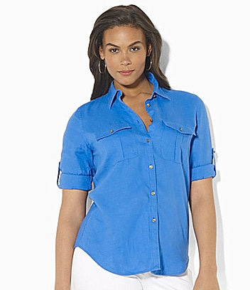 Lauren Ralph Lauren Woman Linen Anchor-Detail Workshirt