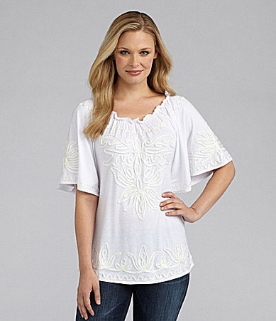 Investments Peasant Soutache Knit Top