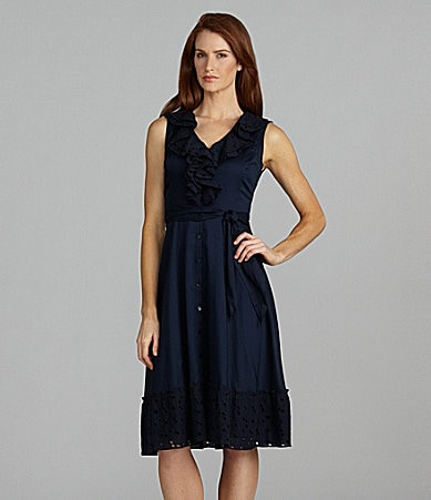 Jones New York Signature Eyelet-Ruffle Dress