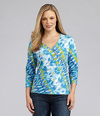 Ruby Rd. Embellished French Ikat Print Top
