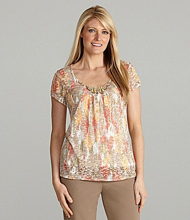 Ruby Rd. Embellished Scoop Neck Top
