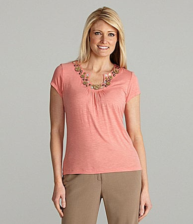 Ruby Rd. Petites Open Keyhole Solid Knit Top