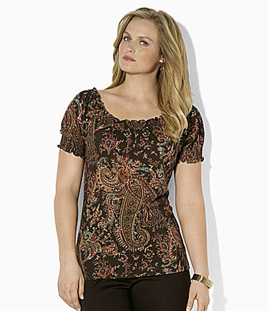 Lauren by Ralph Lauren Woman Short-Sleeved Smocked Cotton Jersey Top