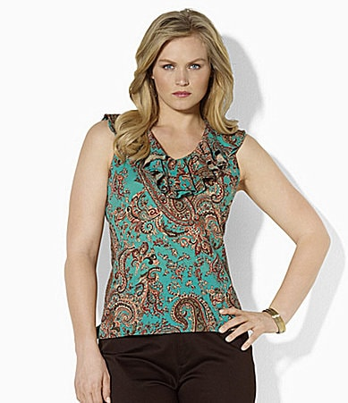 Lauren Ralph Lauren Woman Paisley Ruffle V-Neck Top