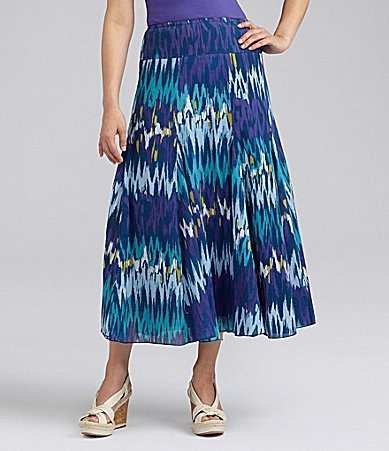 Ruby Rd. Woman Long Ikat Rain Printed Skirt