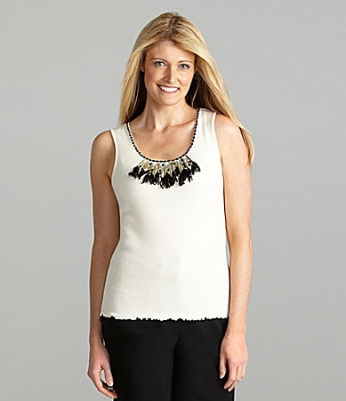 Ruby Rd. Woman Embellished Ribbed Tank
