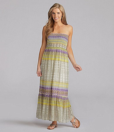 London Times Strapless Maxi Dress