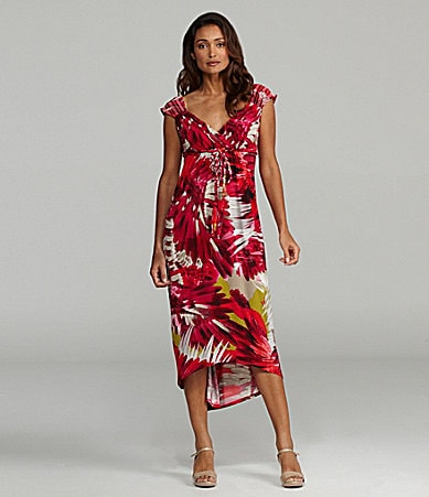London Times Printed Hi-Low Dress