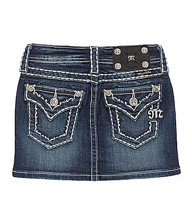 Miss Me Girls 7-16 French Scroll Border Denim Skirt