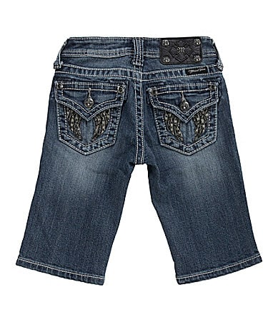 Miss Me Girls 7-16 Two-Tone Winged Pocket Denim Bermuda Shorts