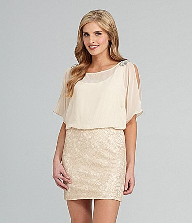 Xscape Lace Jewel-Shoulder Dress