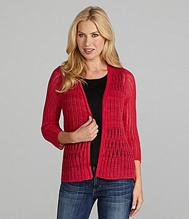 Jones New York Signature Open-Front Cardigan