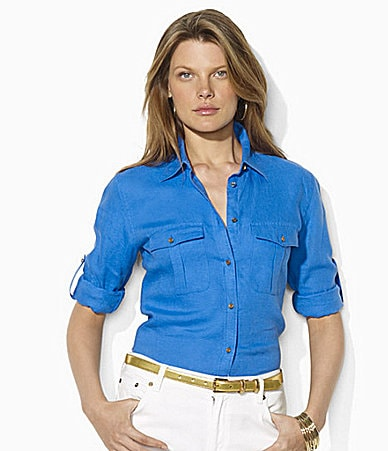 Lauren  Ralph Lauren Petites Linen Anchor-Detail Workshirt