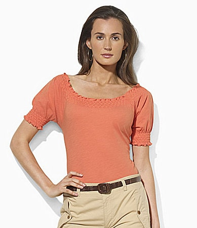 Lauren Ralph Lauren Petites Short-Sleeved Smocked Jersey Top