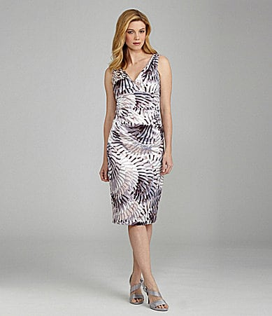 London Times Satin Printed Dress