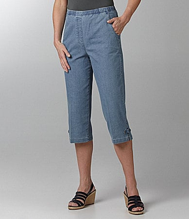 Allison Daley Mock-Fly Pull-On Denim Capri Pants