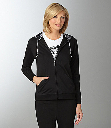 Allison Daley Zebra Trimmed Knit Hoodie