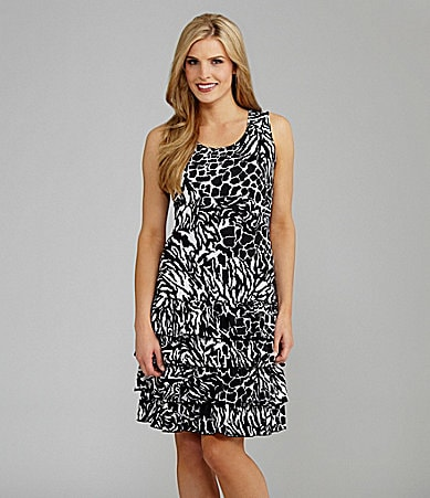 Peter Nygard Animal Instincts Ruffle Tank Dress