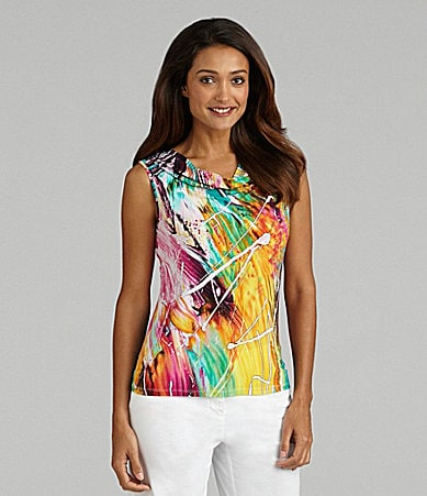 Peter Nygard Woman Color Riot Printed Knit Top