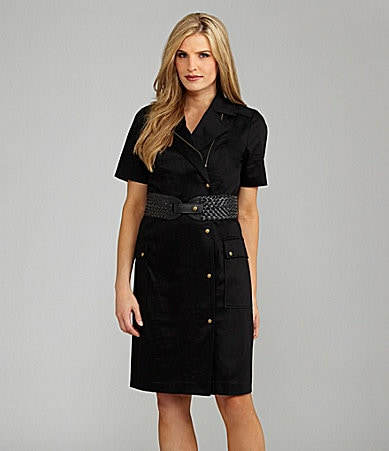 Peter Nygard Petites Belted Stretch Sateen Safari Shirtdress