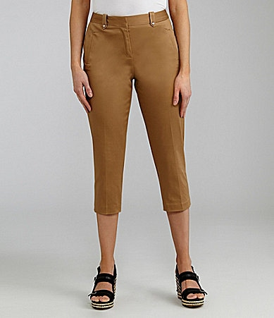 Peter Nygard Petites Stretch Sateen Capri Pants