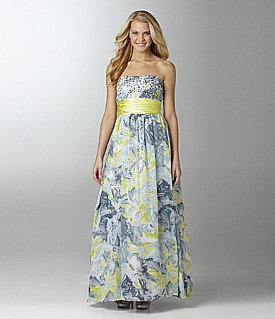 Blondie Nites Strapless Printed Dress