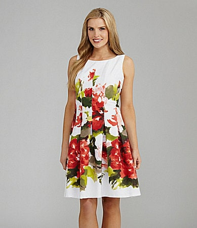 Jones New York Pleated Floral-Print Dress