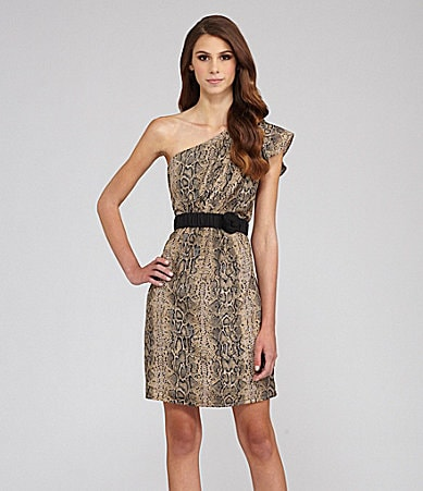 MM Couture by Miss Me Snake Print One Shoulder Dress