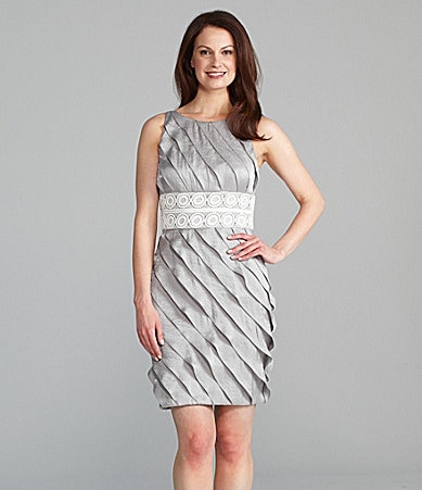 London Times Petites Sleeveless Shimmer Dress