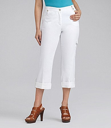 Ruby Rd. Petites Lightweight White Denim Capri Pants