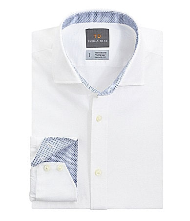 Thomas Dean Big & Tall Tonal Solid Windowpane Sportshirt