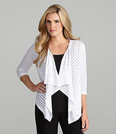 Peter Nygard Striped Cascade Cardigan